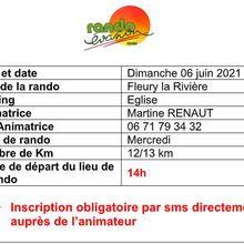 Dernière minute : Rando dimanche 6 juin à Fleury la Rivière