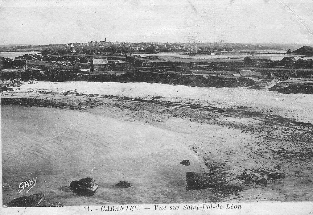 Carantec – Vue sur Saint-Pol-de-Léon Carte non datée (du 28 juin 1940 ?)