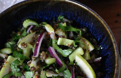 Salade de lentilles beluga, céleri et pomme verte