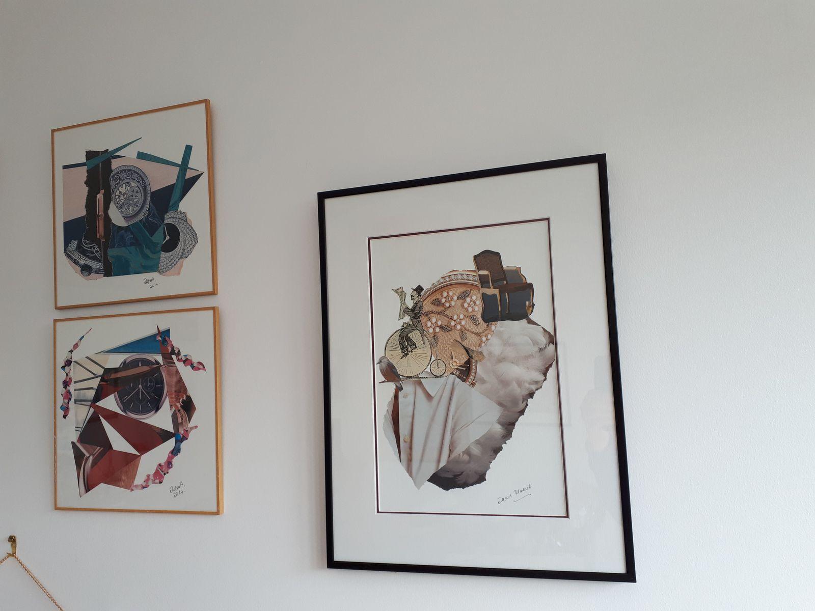 """Les Collages d'eMmA MessanA, dans l'atelier le collage N°469 """"Nouvelles du Temps"""", exemplaire unique  © eMmA MessanA"""