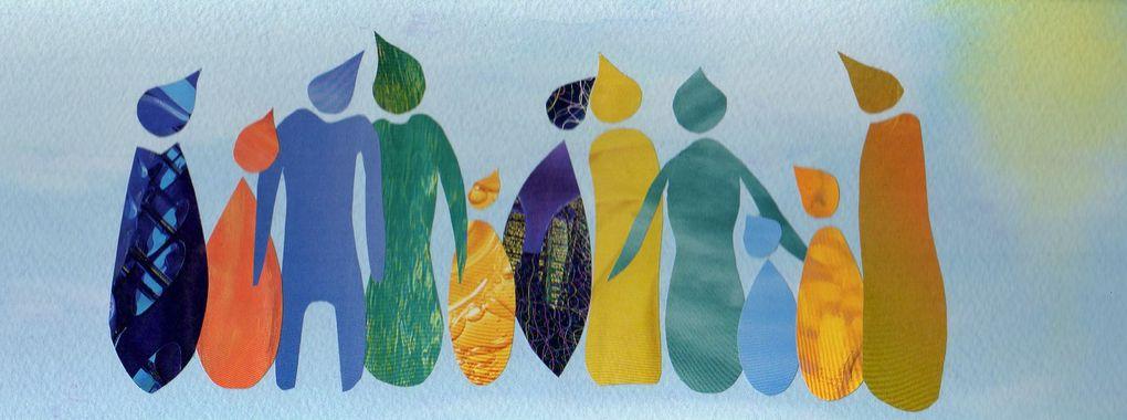 """Les Collages d'eMmA MessanA Expo solo """"Donne-moi la main"""" Saint-Urbain, mai à août 2018"""