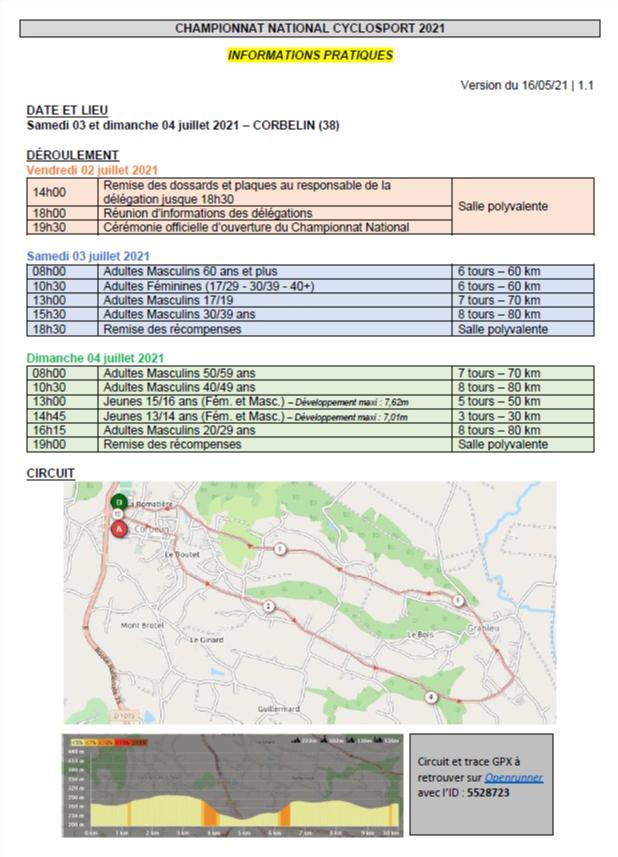 Championnat National UFOLEP cyclosport les 3 et 4 juillet 2021 à Corbelin (38)