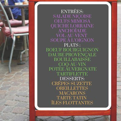 French menu with typical and traditional recipes
