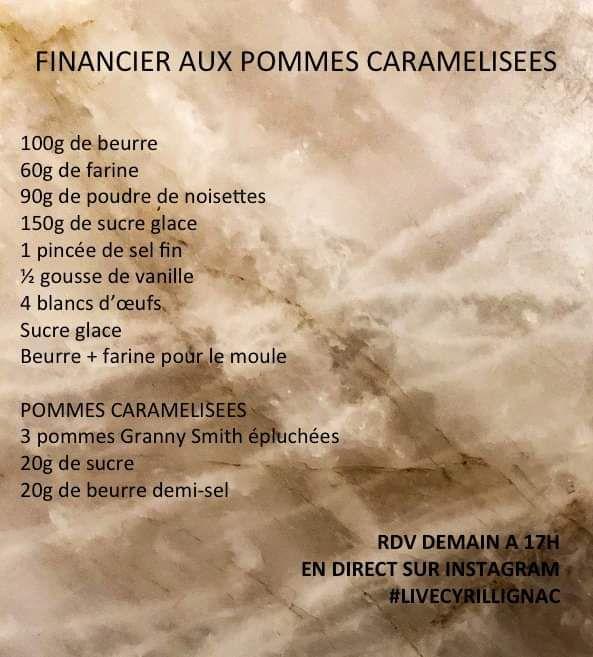Financier aux pommes caramélisées de Cyril Lignac en live instagram