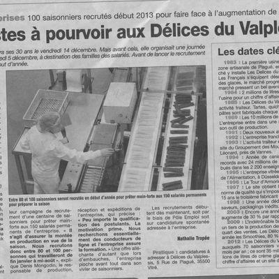 Les Délices du Val Plessis à Vitré recrutent 100 saisonniers pour début 2013