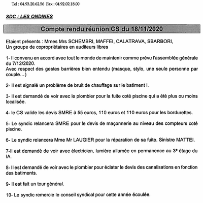 Réunion SYNDIC-CS du 19 /11 2020