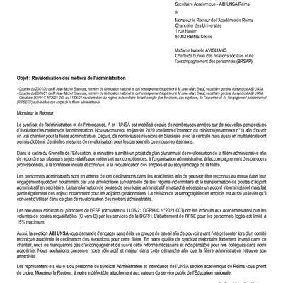 SA courrier Recteur 210621: revalo indemnitaire