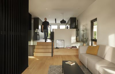 DESK ARCHITECTES DESIGNED THE COMPLETE INTERIOR RENOVATION OF A 80S SPLIT LEVEL IN VIEUX-LONGUEUIL , CANADA