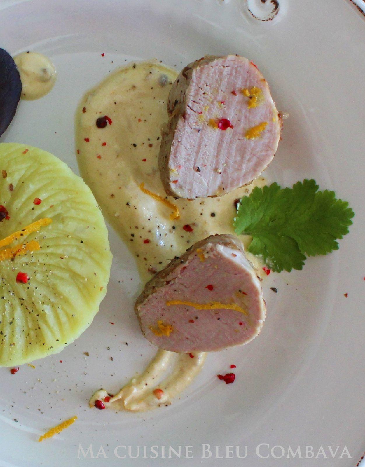 Mignon de Porc au Gingembre et Baies Roses et sa Sauce Crémée à l'Orange