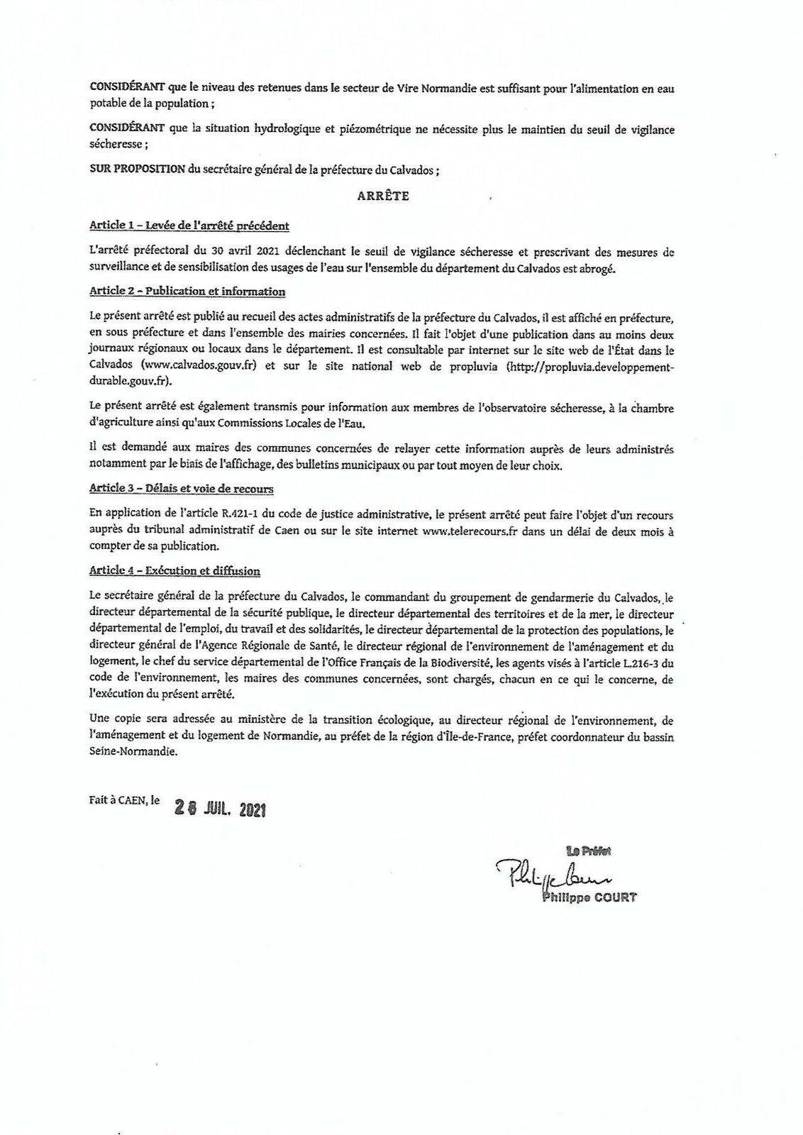 Arrêté Préfectoral.