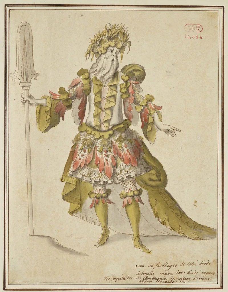 Jean Berain, Projet de costume pour le fleuve Sangar dans Atys de Lully, vers 1676. BnF