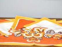 Serviette de table jaune et orange Années 70 - Vintage