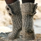 "Moon Socks / DROPS 134-42 - Chaussons DROPS tricotés avec 2 fils ""Nepal"". - Free pattern by DROPS Design"