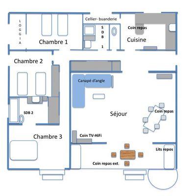 Plan intérieur de l'appartement et légendes