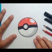 Como dibujar una pokeball paso a paso   How to draw a pokeball