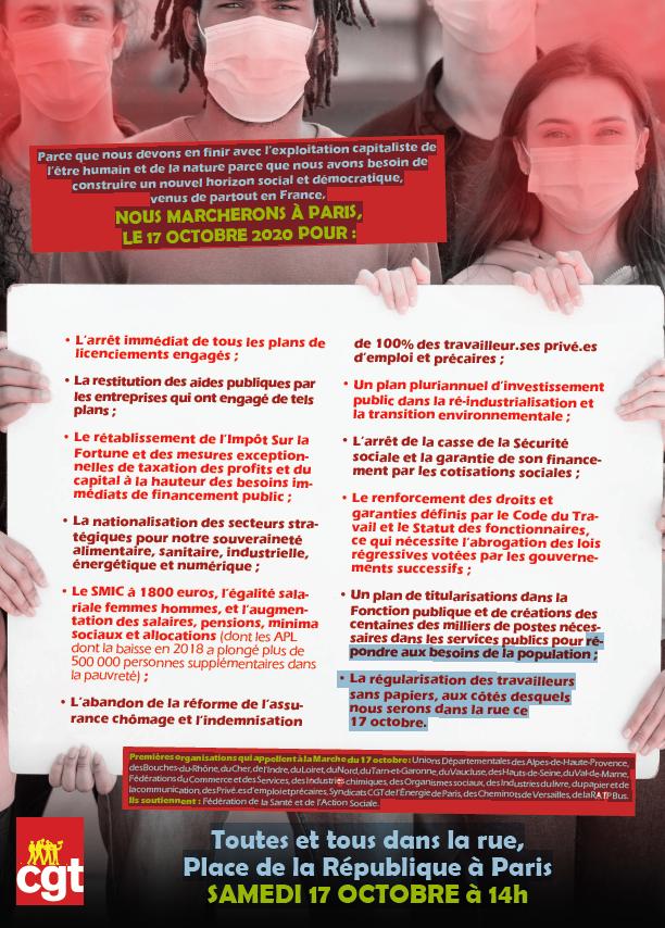 Marche nationale  pour l'emploi le samedi 17 sur Paris