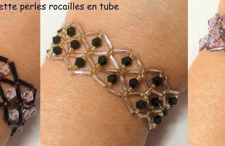 Tutoriel et patron: bracelet manchette rocailles en tubes
