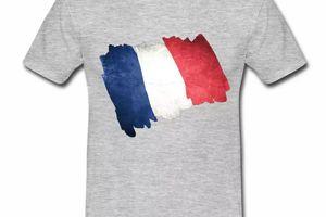 T shirt bleu blanc rouge Drapeau Français en dessin HGR