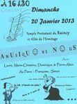 Concert au Temple protestant du Raincy dimanche 20 janvier 2013