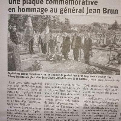 HOMMAGE AU GÉNÉRAL JEAN BRUN AU CIMETIÈRE D'OULLIN (RHÔNE) LE SAMEDI 24 AVRIL 2021.
