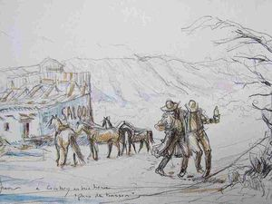 "Etudes pour ""A cow-boy on his horse 13 Pris de boisson, They are drunk."" Crayon, encres, aquarelle BHAVSAR"
