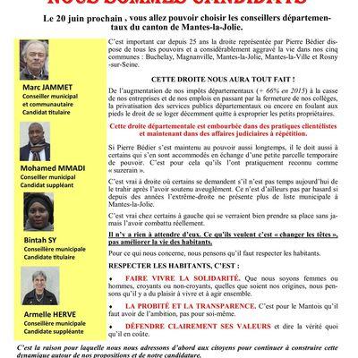 Election départementale. Dimanche 2 mai 2021  A la rencontre des Mantevillois
