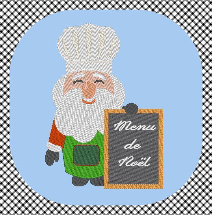 Broderie machine gratuite Père Noël cuisinier