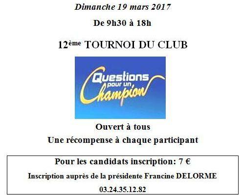 Tournoi : Questions pour un Champion - Rimogne Dimanche 19 Mars 2017