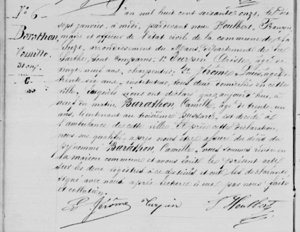 Guerre de 1870 morts du Val de Sarthe : Camille Barathon