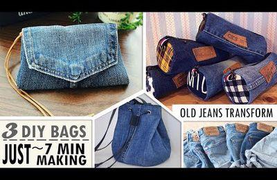 recyclage jeans : 3 modèles de bourses