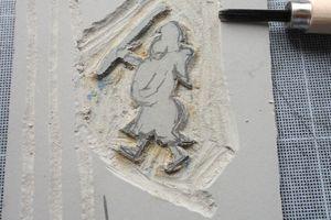 Gravure Linoléum, papier fait main