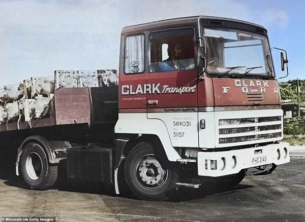Pictured:Peter Sutcliffe sitting in the cab of his lorry at the Bradford engineering firm TW Clark, where he was a driver Circa 1976