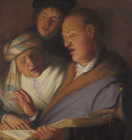 REMBRANDT - Les trois musiciens, Allégorie de l'ouïe - L'opération de la pierre, Allégorie du toucher - Le Patient inconscient, Allégorie de l'Odorat. 21,5x17 - Huile sur panneau