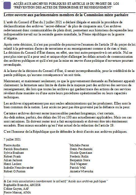 Accés aux archives publiques: lettre ouverte aux parlementaires qui examinent le 9 juillet l'article 19 de Prévention des Actes de Terrosrisme