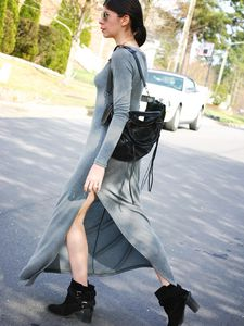 Grey Maxi Dress + Ankle Boots