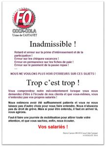PROBLEMES DE PAIE ! INADMISSIBLE !