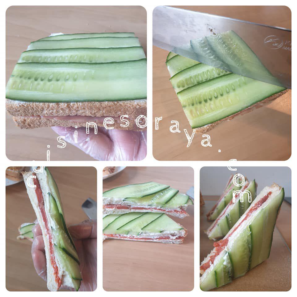 Club sandwich thon oignon crispy / Club sandwich saumon et concombre