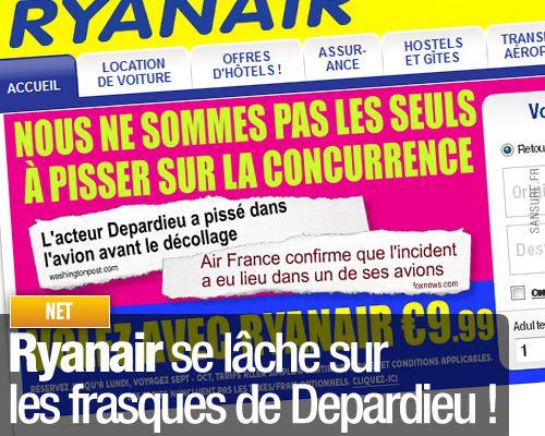 Ryanair se lâche sur les frasques de Depardieu !