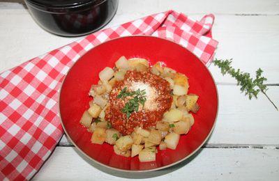 Chou rave sauté sauce bolognaise