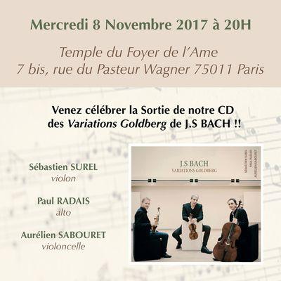 Concert de sortie du disque des Variations Goldberg !