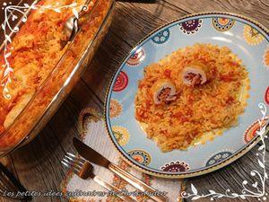 Roulés de dinde, jambon et emmenthal avec riz à la tomate