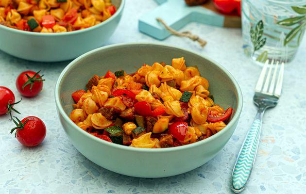 Pâtes aux légumes du soleil, chorizo et paprika