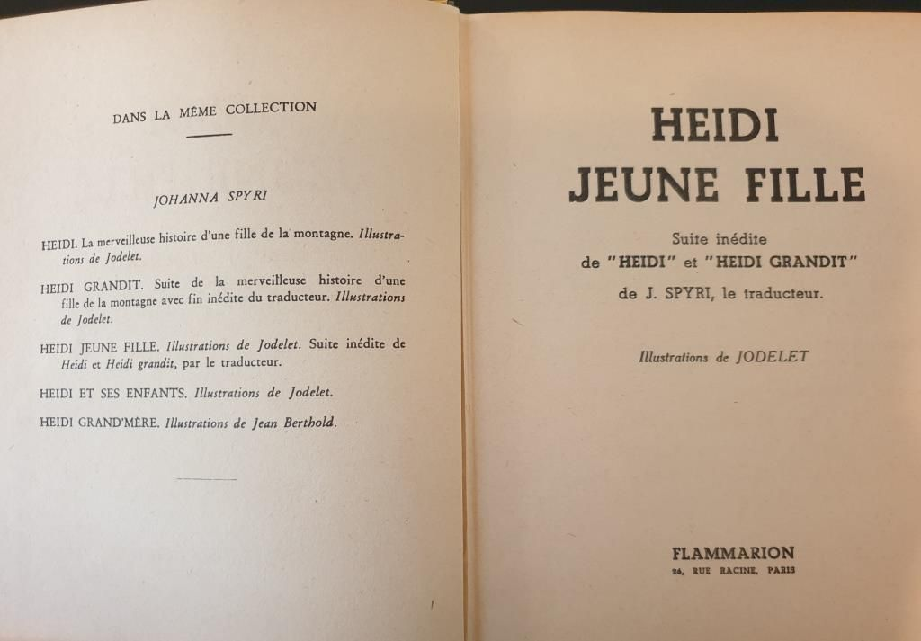 HEIDI JEUNE FILLE 1936 JOHANNA SPYRI -  11 euros
