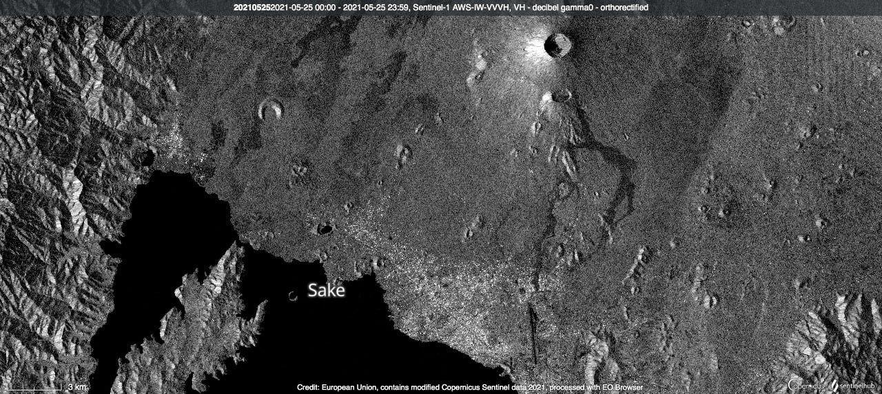 Nyiragongo - coulées de lave (sur la droite) de l'image Sentinel 1 du 25.05.2021 - Doc. Copernicus - un clic pour agrandir