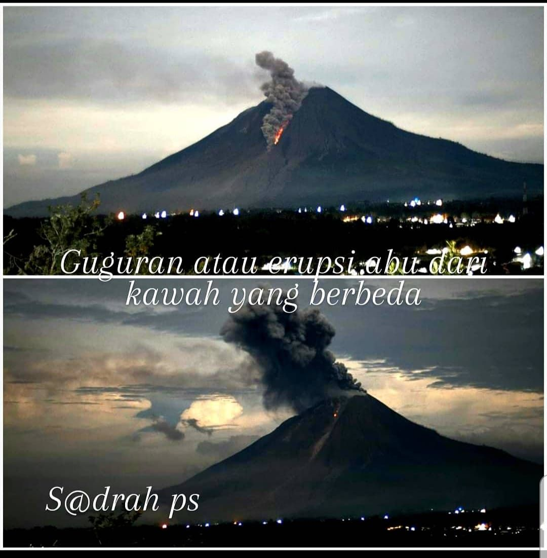 Sinabung - 11/02/2020 / evening: collapse followed by plume of eruptive ash from another crater - photo Sadrah Peranginangin