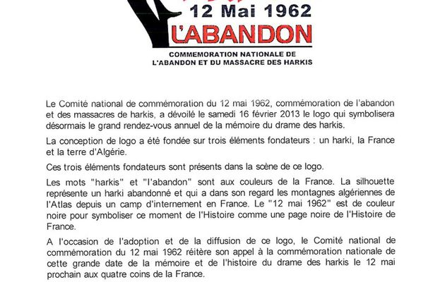 Logo de la commémoration nationale du 12 mai 1962
