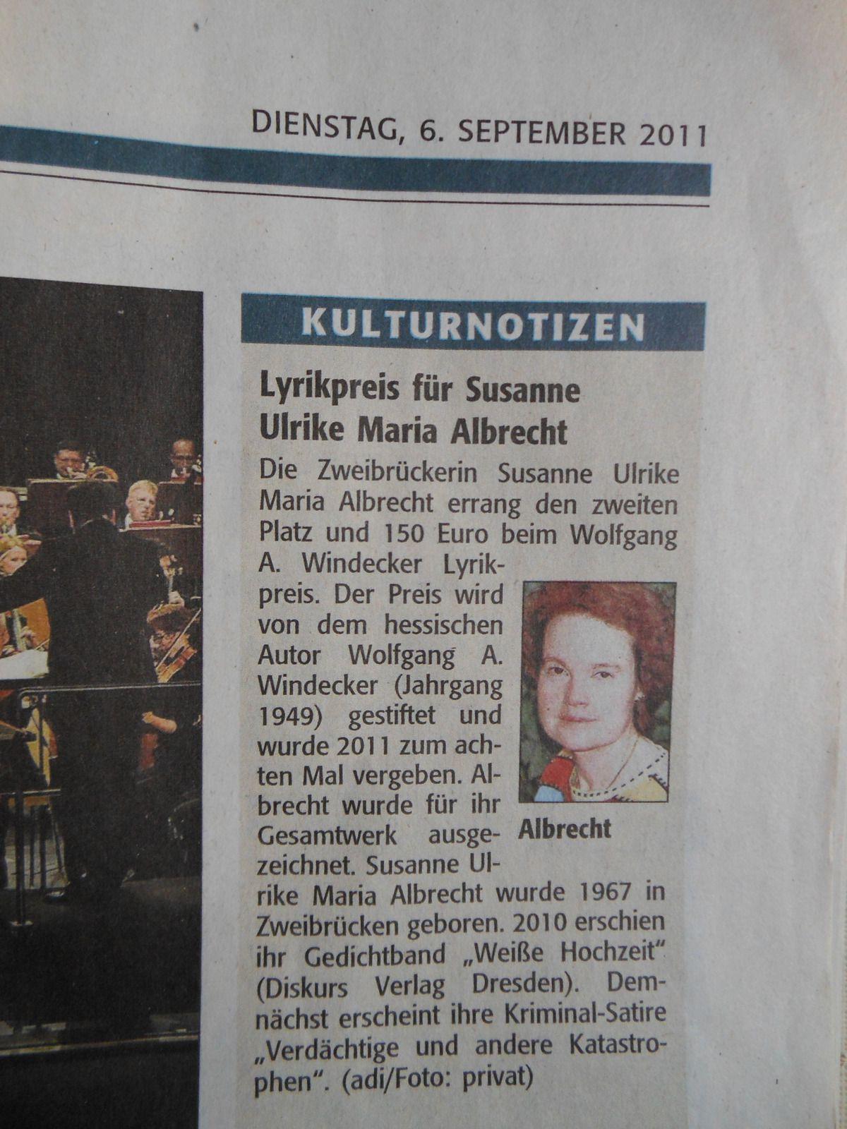 Lyrikpreis für Susanne Ulrike Maria Albrecht