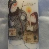 Printed Image Snowman Candle by cardsbynikki - Cards and Paper Crafts at Splitcoaststampers