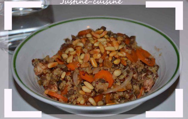 Wok de lentilles et quinoa aux légumes