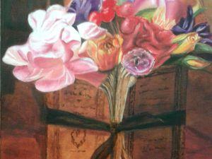 J'aime beaucoup ce bouquet de fleurs derrière ce vieux livre, et cette peinture en monochrome au gré du vent ! Bravo à Danie !!  Deux peintures réalisées à l'huile !!